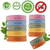 Janolia Mückenschutz Armband, 12 Stück Anti Mosquito Bracelet Reusable Repellent Wristband Armband...