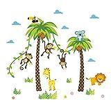 ElecMotive Dschungel Abnehmbare Wandsticker Kinderzimmer Babyzimmer Deco für Geburtstag Party in...