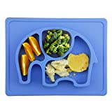 Baby Teller, Silikon Rutschfester Baby Tischset für Baby Kleinkind und Kinder,kinderteller passend für die meisten Hochstuhl-Tabletts-26 x 20 x 3 cm (Blau)