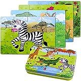 Holzpuzzles Spielzeug ,64PCS Puzzle aus Holz ,Vier schwierigkeitsgrade Lernspielzeug Spiel für Kinder 3 4 5 Jahren Alt.Metallkoffer Box. (Zebra)