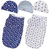 Lictin Pucksack Baby Pucktuch Baby Mütze 100% Baumwolle 2 pcs Doppelstöckige Pucksack mit 3pcs Babymütze für Baby Neugeborene von 0-6 Monate