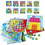 LVHERO Mosaik Steckspiel für Kinder ab 2 Jahre, Mosaiksteine mit Ø 3.5cm, Pädagogische Baustein Sets, Lernspielzeug Geschenke