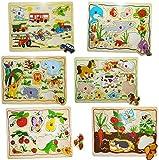 Unbekannt 6 BRETTER _ Steckpuzzle mit Griffen -  Tiere / Fahrzeuge oder Früchte  - aus Holz - großes Holzpuzzle / Einlegepuzzle - Griff Legespiel - Rahmenpuzzle / Kin..