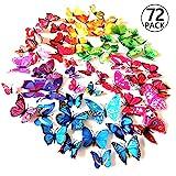 Foonii 72 PCS 3D Schmetterlinge Wanddeko Aufkleber Abziehbilder,schlagfestem Kunststoff Schmetterling Dekorationen, Wand-Dekor (12 Blau, 12 Farbe, 12 Grün, 12 Gelb, 12 Rosa, 12 Rot)
