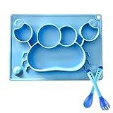Baby Essmatte Teller mit Löffel & Gabel Set- Silikon Rutschfester Baby Tischset mit Saugnäpf für...