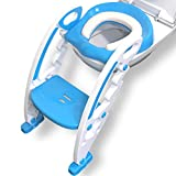 MAEY Kinder Toilettensitz mit Treppe in Blau Höhenverstellbar Rutschfest Spritzschutz Klappbar |Toilettentrainer |Töpfchen |Klositz|Toilettenaufsatz