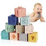 Mini Tudou Baby Bausteine Spielzeug Stapelwürfel Bauen motorikspielzeug Baby Beißring,Lehrreich Montessori-Spielzeug mit Zahlen Tiere Formen Texturen ab 6 Monate 12 Stück