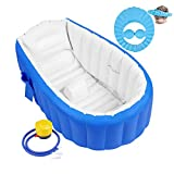 Aufblasbare Badewanne Baby Babybadewanne Babywanne Aufblasbar mit Luftpumpe und Duschhaube für Baby, Neugeborene, Kinder, Jungen und Mädchen