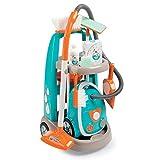 Smoby 330309 Spielzeug Reinigungstrolley mit Staubsauger inkl. Soundgeräuschen, Schaufel, Besen, Wischmopp, Spielverpackungen für Kinder ab 3 Jahren