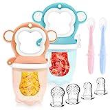 Fruchtsauger Baby - Obstsauger Baby ab 6 Monate, 2 Stück Fruchtschnuller für Obst und Gemüse, Schnuller BPA frei als Baby Zahnungshilfe mit 6 Silikon Sauger in 3 Größen und Baby Löffel (Affe)
