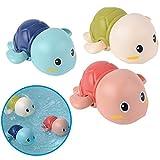 Badewannenspielzeug Schildkröten, 3 Pack, auf Schadstoffe und BPA geprüft, Mechanik zum Aufziehen, schwimmen bis 15s, ab 6 Monaten, mit Trocknungsloch, übt Feinmotorik und Greifkraft, Badespielzeug