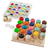 Ulanik Montessori Holzspielzeug Pilz Sortieren Lernspielzeug 25 Pilze 45mm Alter 1 + Farbe...