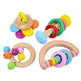 Baby Rassel, Bio-Holz, Montessori Stil Baby-Rassel, natürliches Holz, Spielzeug für Neugeborene,...