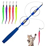 Thursday April Katzenspielzeug 5pcs Angel Katze Wurm Spielzeug Interaktive Einziehbare Natürliche...