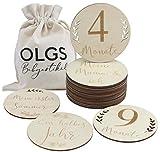40 Holz Meilensteine inkl. Stoffbeutel für Ihr Baby | Meilensteinkarten als Geschenkidee zur...