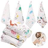 ABirdon 10 Stück Baby Musselin Waschlappen, 100% Bio-Baumwolle Weiche Baby Handtuch, Mehrzweck Baby Gesichtstüche für Jungen und Mädchen, 30x30 cm