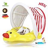 EDWEKIN® Einzigartiger Baby Schwimmtrainer mit abnehmbarem Sonnendach, Ente Schwimmring Baby, Baby...