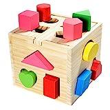 all Kids United® Steckwürfel aus Holz-Würfel Lernspielzeug-Puzzle Steckbox für Baby & Kleinkind; Holz-Spielzeug trainiert Motorik; Förderung von Formerkennung und Konzentration
