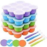 BOCHION Babynahrung Einfrieren Behälter, Silikon Babybrei Aufbewahrung mit Silikondeckel, Gefriertabletts für Babynahrung BPA-frei, von Muttermilch, Kräutern, Saucen, Eiswürfeln, 9 x 75ml - Blau