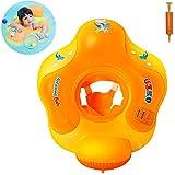 Myir Schwimmring Baby mit Rückenlehne, Aufblasbare Baby Schwimmsitz Schwimmhilfe Swimtrainer Schwimmtrainer Kinder Kleinkind Schwimmreifen Float (Orange, M, 1 Jahre-3 Jahre)