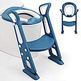 Fascol Toilettentrainer mit Treppe, Töpfchentrainer Faltbar und Tragbar, Töpfchen für Kinder von 1 bis 8 Jahre Höhenverstellbar Toilettensitz für Toiletten 36-44 cm, Blau