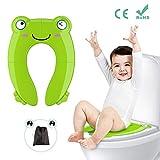 Fansteck Kinder Toilettensitz, Faltbarer Toilettentrainer für Unterwegs, Tragbar Reise WC Sitz Kleinkind Töpfchentrainer mit Aufbewahrungstüte und WC Sitzbezüge (Grün)