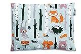 Baby Kopfkissen, Kissen 100% Baumwolle perfekt für Kinderwagen und Babybetten 30cm x 40cm (Wald)
