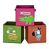 SONGMICS Aufbewahrungsboxen, 3er Set, Faltboxen, Stoffboxen mit Griffen, Spielzeug-Organizer, faltbar, für Kinderzimmer, Spielzimmer, Tier-Motive, braun, grün und rosa RFB702Y03