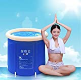 Gweat Blau Badewanne klappbar Wannenbad Fass Erwachsenen Wanne aufblasbare Badewanne, Dicker Plastikeimer Badewanne 75x65x70cm(größe : S)