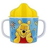 P:os 68939 - Trinklernbecher mit Disney Winnie the Pooh Motiv, Schnabeltasse für Kinder mit 2 Griffen, Jungen und Mädchen, Füllmenge ca. 200 ml, aus Melamin / ABS (BPA-frei)