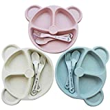 Kinderteller Set 3 Stück Baby Teller Kinderteller Stabiles Kindergeschirr BPA free Passt in...