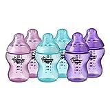 Tommee Tippee Closer to Nature® Babyflaschen, brustähnlicher Sauger mit Anti-Kolik-Ventil, 260ml, 6er-Pack, Pink