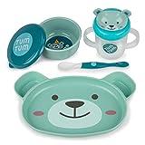 TUM TUM Baby Essgeschirr - Esslern Set 4 Teile - Kinderteller, Babylöffel, Trinkbecher, Breischale - extra Saugteller mit abnehmbarem Saugnapf - BPA frei - rutschfestes Geschirrset