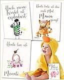 JANEYO - 70 Motive Meilensteinkarten für Babys mein erstes Jahr - für Mädchen und Jungen zur Geburt - Meilenstein Karten auf Deutsch - Babykarten, Milestone Cards, Geschenke für Schwangere und Mamas