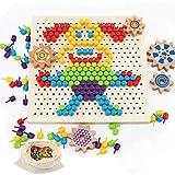 Herefun Mosaik Spielzeug, Steckmosaik Bunte Steckspiel, Holz Mosaik Steckspielzeug Pegboard Puzzle...