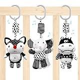 Euyecety Baby Spielzeug Kinderwagen Spielzeug, Weiß & Schwarz Hängende Rasseln Spielzeug mit Glöckchen, Neugeborenes Spielzeug Kinderbett Spielzeug, Activity-Spieltier ab 0 3 6 9 12 18 Monaten