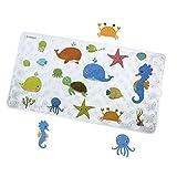 Badewannenmatte Fisch Antirutschmatte Badewanne mit Saugnäpfen Natura BPA frei Karikatur Entwurf Duschmatte Antirutsch Badematte für Kinder und Baby 70 x 40 cm(FHD-03)