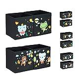 Relaxdays Aufbewahrungsboxen Kinder, 4er Set, DIY Schaumstoff-Sticker, Spielkiste verzieren, Design D, 31x31x31 cm, bunt