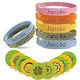 Janolia Citronella Armbänder, 12 Stück Armband und 32 Stück Aufkleber, Hergestellt aus pflanzlichen ätherischen Ölen, Sicheres für Indoor, Outdoor, Kinder, Erwachsene
