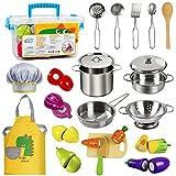 EFO SHM Kinderküche Zubehör Holz Lebensmittel Spielküche Edelstahl Kochset Kinderspielzeug Töpfe...