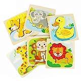 Fansteck Holzpuzzle Spielzeug ab 1, 2, 3 Jahren Puzzle Holz für Baby Kinder, Steckpuzzle Montessori...