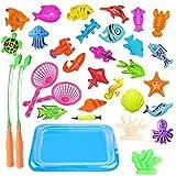 JIM'S STORE Kinder Badewannenspielzeug Magnet Baby Angelspiel Wasserspiel Badewanne Fisch Lernspiel Outdoor Spaß Mit Aufblasbarer Fischteich und Faltbare Angelrute