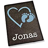 U-Heft Hülle bestickt mit Name Herz blau mit Füßen hellgrau dunkelgrau Untersuchungshefthülle (dunkelgrau)