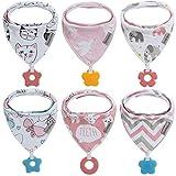 Baby Dreieckstuch Babylätzchen Bandana mit Beißspielzeug Einstellbar Spucktuch 100% Bio-Baumwolle, Super Saugfähig und Weiche, Halstücher Drool Lätzchen für Mädchen(6Pack Mädchen)