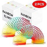 THE TWIDDLERS 2 riesige Bunte Große Slinkys in Leuchtenden Regenbogenfarben - ideales Innenspielzeug für Kinder - Spirale Regenbogen Treppenläufer Spielzeug, Geburtstagsgeschenke & Klassenpreise