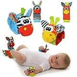 Baby Rassel-Spielzeug - Cute Animal Infant 4 (2 Taille und Socken) Soft Wrist Strap Rattles & Foot Finder Set Soft Entwicklungsspielzeug für Kinder, Bunte Sozzy-Socken von Funky PlanetDevelopment Toy for Children, Colourful by Funky Planet