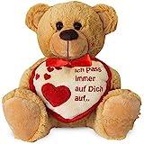 matches21 Teddybär mit Herz / Herzteddy ** Ich Pass Immer auf Dich auf** Hellbraun / beige 25 cm -...