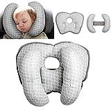 Babyreisekissen für Kinderwagen oder Bett,2 in 1 Kinderwagen Kinderwagen Soft Head Neck Support Verstellbares Baby Travel Nackenkissen für 3 Monate bis 1 Jahr Baby(Grey 1)