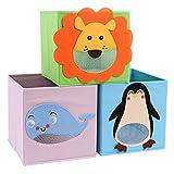 CASATOCA Aufbewahrungsbox 3er-Set, faltbare Tier-Aufbewahrungsbox, Stoffspielzeug-Aufbewahrungsbox, aufstellbare Aufbewahrungsbox, für Wohnzimmer, Kinderzimmer, Kinderspielzimmer, Kindergarten
