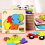 Holzpuzzle 3D Puzzlespiele Tier-Motive, Holzpuzzle Kunterbunte Tierkinder, Puzzlespaß,...